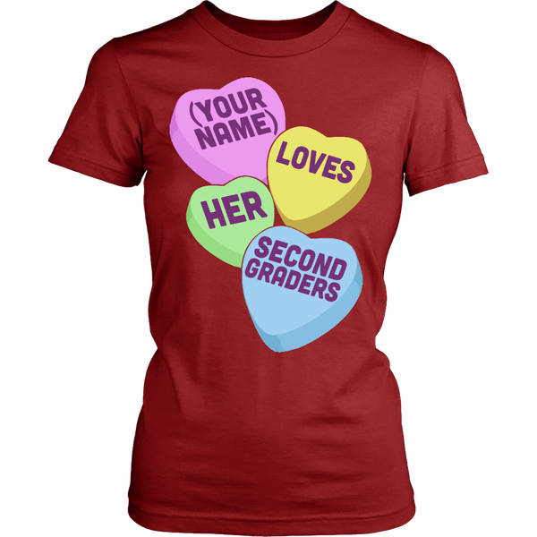 Second Grade - Candy Hearts - District Made Womens Shirt / Red / S - 14