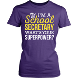 Secretary - Superpower - District Made Womens Shirt / Purple / S - 10