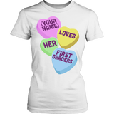 First Grade - Candy Hearts - District Made Womens Shirt / White / S - 13