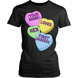 First Grade - Candy Hearts - District Made Womens Shirt / Black / S - 9