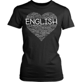 English - Heart - District Made Womens Shirt / Black / S - 11