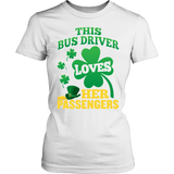 School Bus Driver - St. Patrick's Day Her Passengers - District Made Womens Shirt / White / S - 12