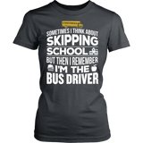 School Bus Driver - Skipping - District Made Womens Shirt / Charcoal / S - 12