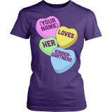 Kindergarten - Candy Hearts - District Made Womens Shirt / Purple / S - 10