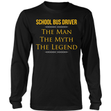 School Bus Driver - The Man The Myth - District Long Sleeve / Black / S - 8