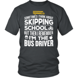 School Bus Driver - Skipping - District Unisex Shirt / Charcoal / S - 3