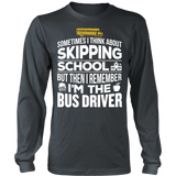 School Bus Driver - Skipping - District Long Sleeve / Charcoal / S - 6
