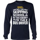 School Bus Driver - Skipping - District Long Sleeve / Navy / S - 5