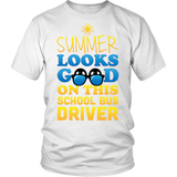School Bus Driver - Summer Looks Good - District Unisex Shirt / White / S - 2