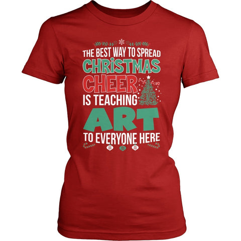 Art - Christmas Cheer - District Made Womens Shirt / Red / S - 1