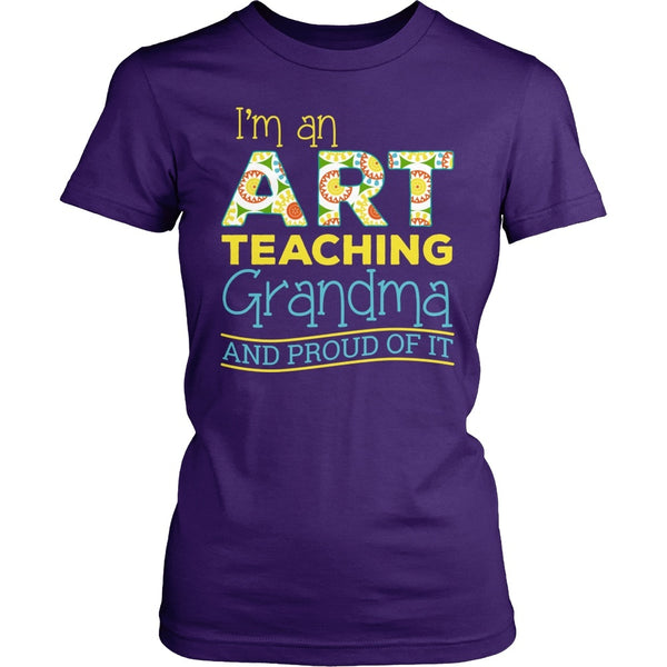 Art - Proud Grandma - District Made Womens Shirt / Purple / S - 1