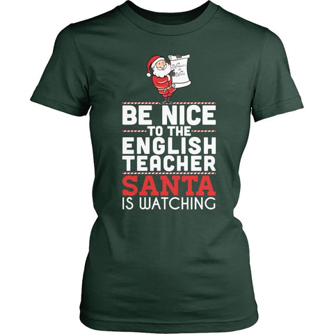 English - Be Nice Holiday - District Made Womens Shirt / Forest Green / S - 1