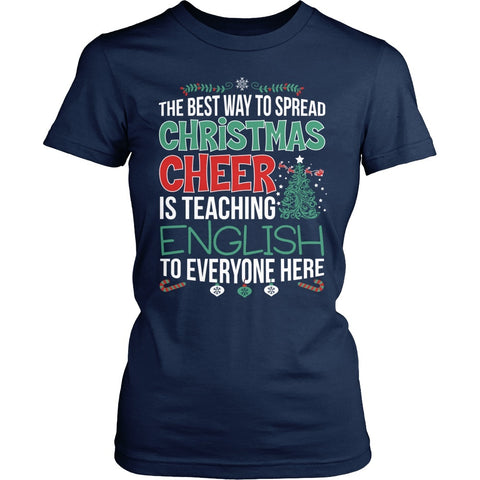 English - Christmas Cheer - District Made Womens Shirt / Navy / S - 1