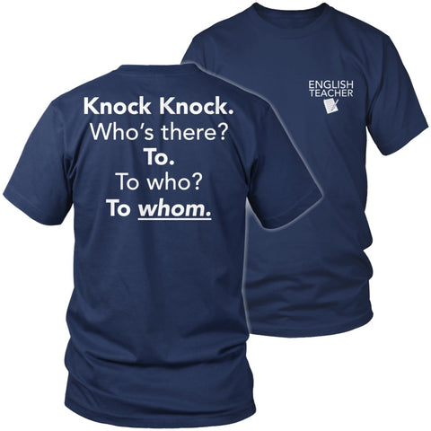 English - Knock Knock - District Unisex Shirt / Navy / S - 1