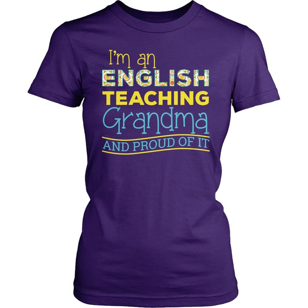 English - Proud Grandma - District Made Womens Shirt / Purple / S - 1