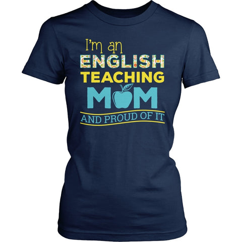 English - Proud Mom - District Made Womens Shirt / Navy / S - 1