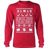English - Ugly Sweater - District Long Sleeve / Red / S - 1
