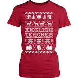 English - Ugly Sweater - District Made Womens Shirt / Red / S - 3