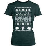English - Ugly Sweater - District Made Womens Shirt / Forest Green / S - 4