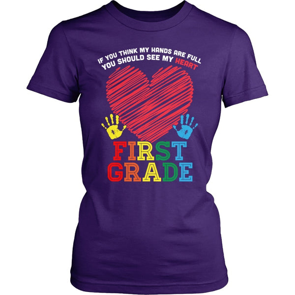 First Grade - Full Heart - District Made Womens Shirt / Purple / S - 1
