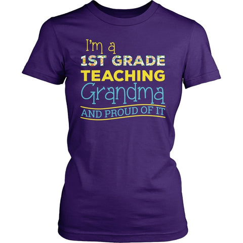 First Grade - Proud Grandma - District Made Womens Shirt / Purple / S - 1