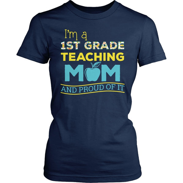 First Grade - Proud Mom - District Made Womens Shirt / Navy / S - 1