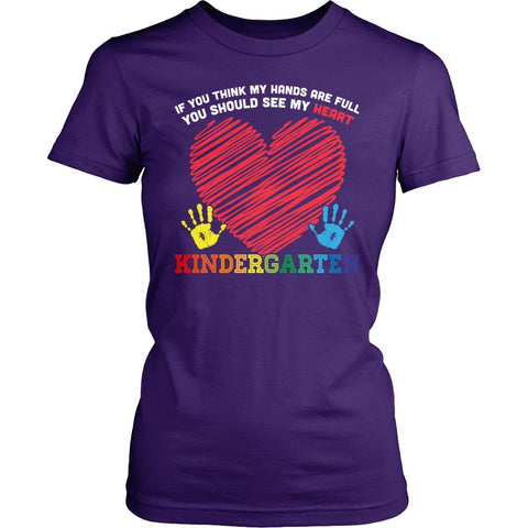 Kindergarten - Full Heart - District Made Womens Shirt / Purple / S - 1