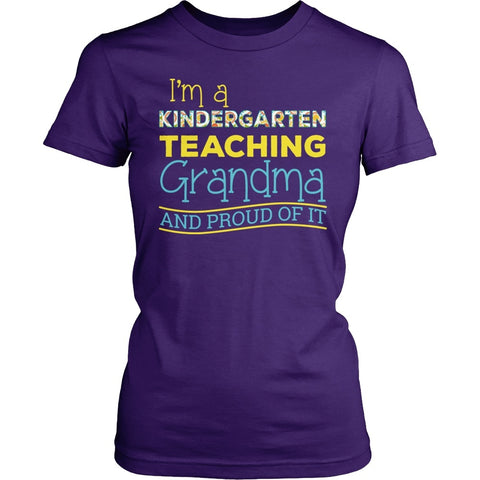 Kindergarten - Proud Grandma - District Made Womens Shirt / Purple / S - 1