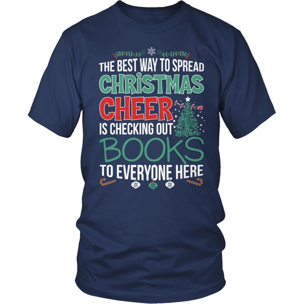 Librarian - Christmas Cheer - District Unisex Shirt / Navy / S - 5