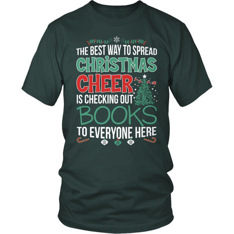 Librarian - Christmas Cheer - District Unisex Shirt / Dark Green / S - 7
