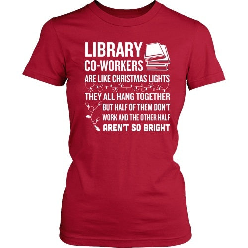 Librarian - Christmas Co-workers - District Made Womens Shirt / Red / S - 1