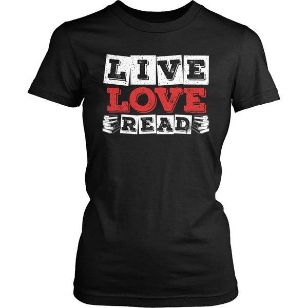 Librarian - Live Love - District Made Womens Shirt / Black / S - 1