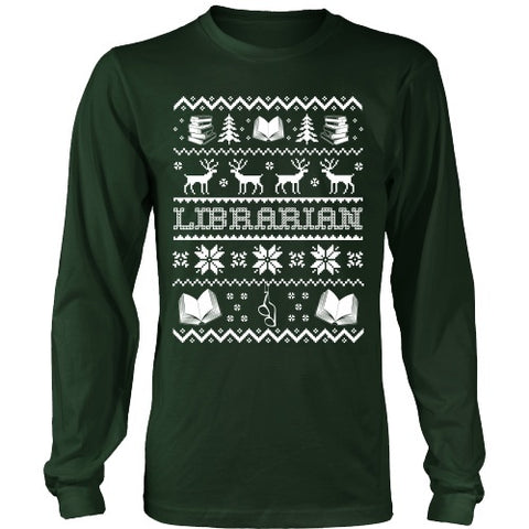 Librarian - Ugly Sweater - District Long Sleeve / Dark Green / S - 1