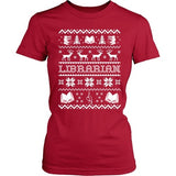 Librarian - Ugly Sweater - District Made Womens Shirt / Red / S - 3