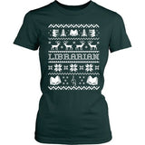 Librarian - Ugly Sweater - District Made Womens Shirt / Forest Green / S - 4