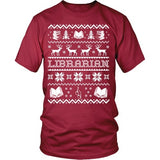 Librarian - Ugly Sweater - District Unisex Shirt / Red / S - 5