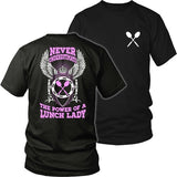 Lunch Lady - Never Underestimate - District Unisex Shirt / Black / S - 31