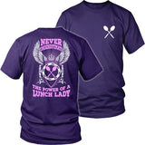 Lunch Lady - Never Underestimate - District Unisex Shirt / Purple / S - 33