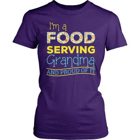 Lunch Lady - Proud Grandma - District Made Womens Shirt / Purple / S - 1