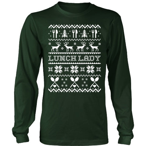 Lunch Lady - Ugly Sweater - District Long Sleeve / Dark Green / S - 1