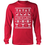 Lunch Lady - Ugly Sweater - District Long Sleeve / Red / S - 2