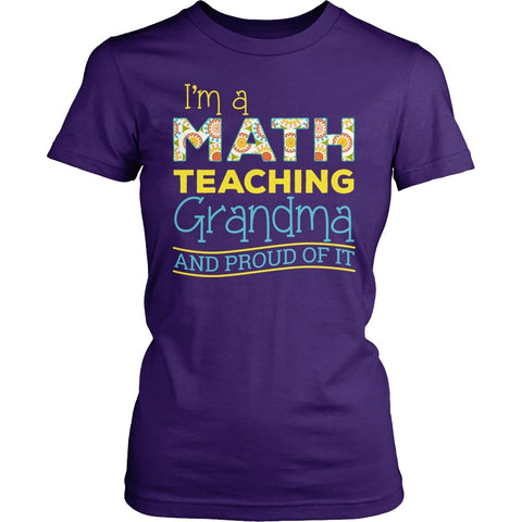 Math - Proud Grandma - District Made Womens Shirt / Purple / S - 1