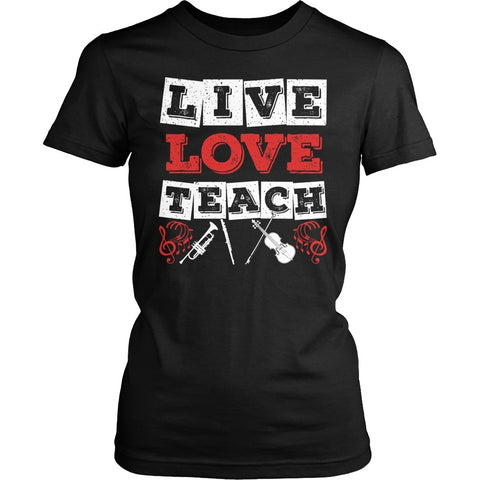 Music - Live Love - District Made Womens Shirt / Black / S - 1