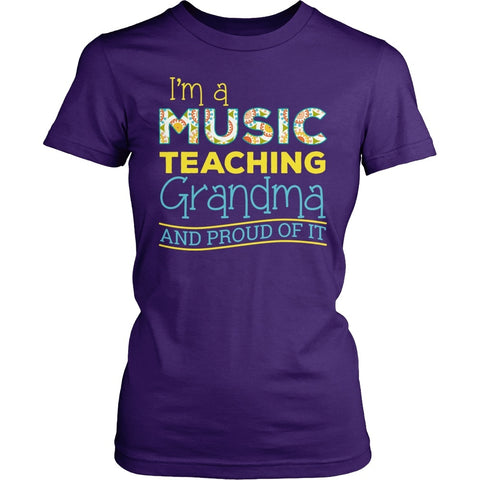 Music - Proud Grandma - District Made Womens Shirt / Purple / S - 1