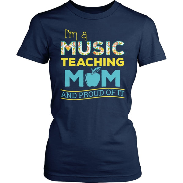 Music - Proud Mom - District Made Womens Shirt / Navy / S - 1