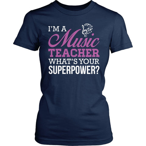Music - Superpower - District Made Womens Shirt / Navy / S - 1