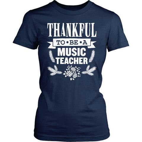 Music - Thankful - District Made Womens Shirt / Navy / S - 1
