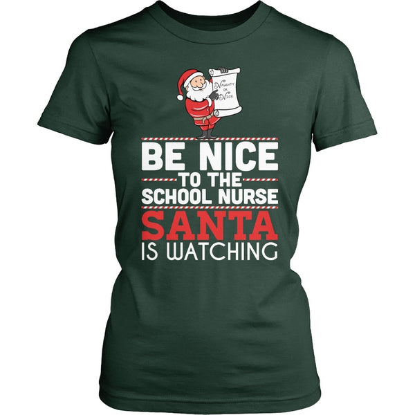 Nurse - Be Nice Holiday - District Made Womens Shirt / Forest Green / S - 1