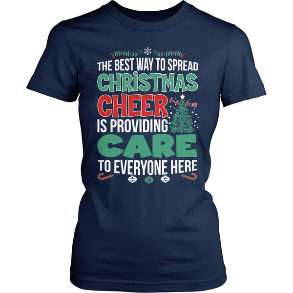 Nurse - Christmas Cheer - District Made Womens Shirt / Navy / S - 1