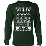 Nurse - Ugly Sweater - District Long Sleeve / Dark Green / S - 1